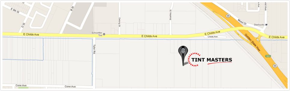 Map to Tint Masters in Merced, CA.